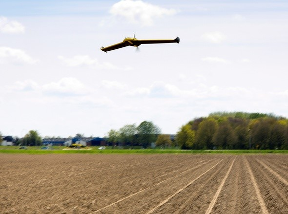 The eBee drone in action during tests in February