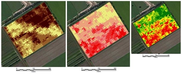 Three maps of a Dutch potato field, made on the basis of soil analysis.