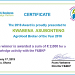 Agrofood Broker of the Year 2018 Winner: Kwabena Asubonteng