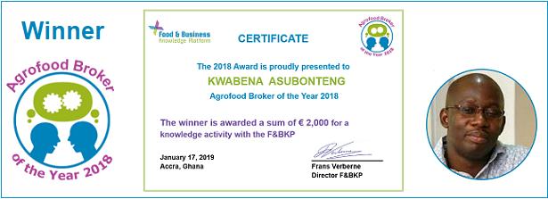Agrofood Broker of the Year 2018 Winner: Kwabena Asubonteng