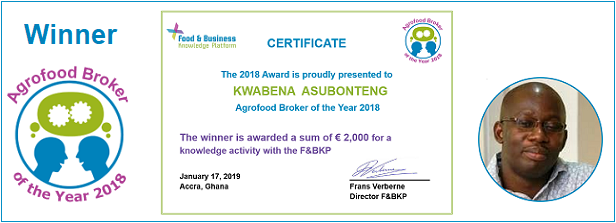 Agrofood Broker of the Year 2018: Kwabena Asubonteng (University of Amsterdam)