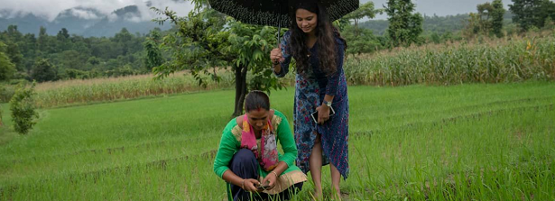 CGIAR, what's next? (Photo: Farmer Sita Kumari uses a mobile app together with research Pratima Baral in Surkhet, Nepal)