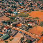 A drone shot of the vast landscape of Ghana, Accra.
